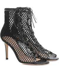 Gianvito Rossi Helena Leather-trimmed Ankle Boots - Black