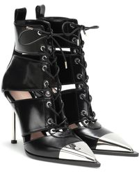 Alexander McQueen Botas acordonadas de piel - Negro