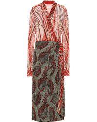 Dries Van Noten Vestido wrap adornado - Rojo