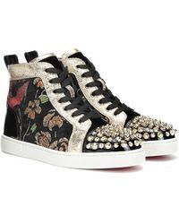 Christian Louboutin Lou Spikes Glitter Flower Velvet High Top Sneakers - Black
