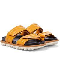 Dries Van Noten Leather Slides - Orange