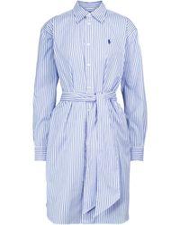 Polo Ralph Lauren Robe chemisier mini à fines rayures - Bleu