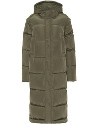 Ganni Quilted Hooded Down Coat - Green