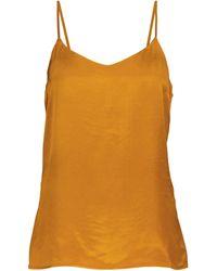 Asceno Top lencero Milos de satín de seda - Naranja