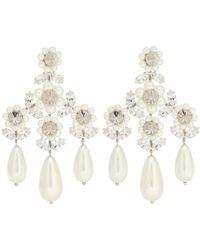 Simone Rocha Orecchini pendenti con perle e cristalli - Bianco