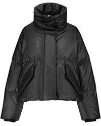 MM6 by Maison Martin Margiela Faux Leather Down Jacket - Black