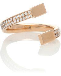 Repossi Serti Carrés Alternés 18kt Gold And Diamond Ring - Metallic