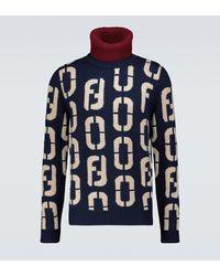 Fendi Rollkragenpullover aus Wolle - Blau