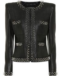 Balmain Embellished Leather Jacket - Black