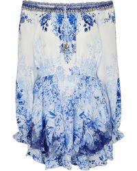 Camilla Miniabito a stampa floreale in seta - Blu