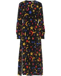 RIXO London Vestido midi Emma de seda estampado - Negro