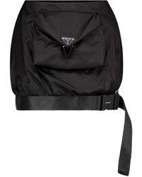 Prada Mini-jupe en Re-Nylon à logo - Noir