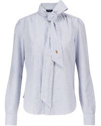 Polo Ralph Lauren Striped Long-sleeved Cotton Shirt - Blue