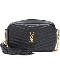 Saint Laurent Lou Mini Leather Crossbody Bag - Black