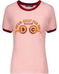 Dolce & Gabbana Bedrucktes T-Shirt aus Baumwolle - Pink