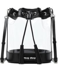 Miu Miu - Leather-trimmed Pvc Bucket Bag - Lyst