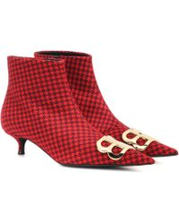 Balenciaga Ankle Boots BB aus Wolle - Rot