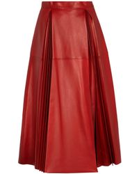 Gucci Leather Midi Skirt - Red