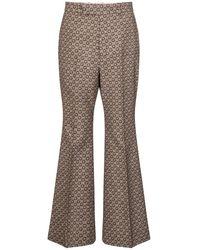 Gucci - Pantaloni flared in jacquard di lana - Lyst