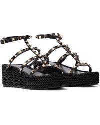 Valentino Garavani Valentino garavani sandalias rockstud torchon de piel - Negro