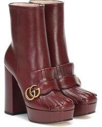Gucci Stiefel mit GG - Rot