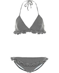 Miu Miu Triangle Ruffle Detail Gingham Bikini - Black