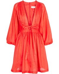 Zimmermann Vestido corto Shelly de lino - Naranja