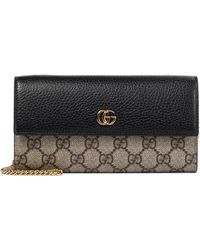 Gucci GG Marmont Leather Clutch - Black