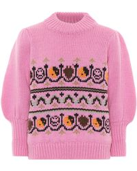 Ganni Intarsia Puff Sleeve Jumper - Pink