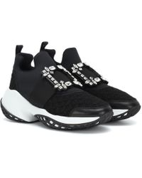 Roger Vivier Viv Run Strass Trainers - Black