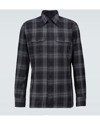 Tom Ford Kariertes Hemd aus Baumwollflanell - Grau