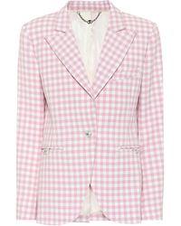 Paco Rabanne Gingham Virgin Wool Blazer - Pink
