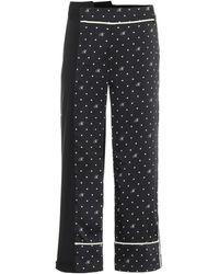 Monse High-rise Polka-dot Stretch Wool Trousers - Black