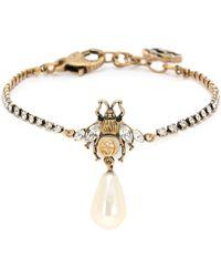 Gucci Pulsera Bee de cristal con perla artificial - Metálico
