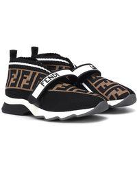 Fendi Sneakers slip on in mesh stretch con fibbia a strappo - Nero
