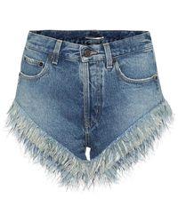 Saint Laurent Shorts denim con piume - Blu