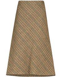 Maison Margiela Checked Wool Midi Skirt - Natural
