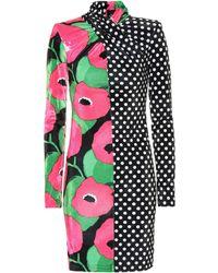 Richard Quinn Polka-dot And Floral Velvet Minidress - Multicolor