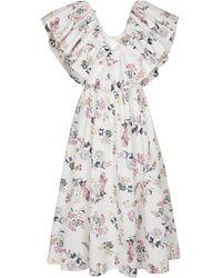Emilia Wickstead Vestido midi Jarvis de algodón floral - Blanco