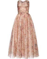 Monique Lhuillier Floral Metallic Tulle Gown - Pink
