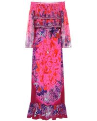 Camilla Printed Off-shoulder Silk Maxi Dress - Pink