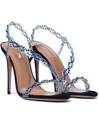 Aquazzura Heaven 105 Embellished Pvc Sandals - Blue
