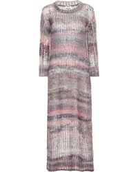 Acne Studios Robe longue en mohair et alpaga mélangés - Multicolore