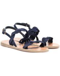 Ancient Greek Sandals Sandalen Plexi aus Veloursleder - Blau