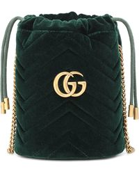Gucci GG Marmont Mini Velvet Bucket Bag - Green