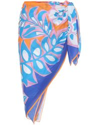 Emilio Pucci Printed Cotton Sarong - Blue