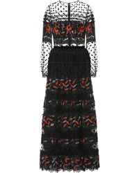 Costarellos Embroidered Tulle Gown - Black