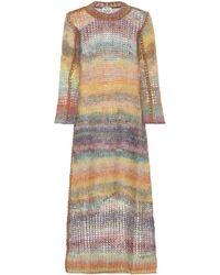 Acne Studios Robe midi en mohair et alpaga mélangés - Multicolore