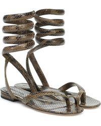 Bottega Veneta Bv Spiral Snake-effect Leather Sandals - Multicolor
