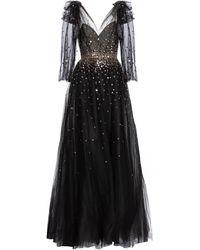 Monique Lhuillier Embellished Tulle Gown - Black